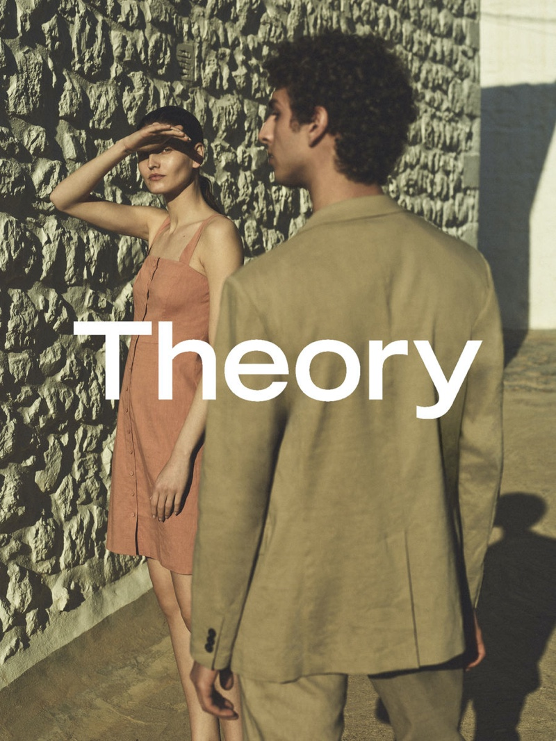 Models Kätlin Aas and Qaher Harhash come together for Theory's spring-summer 2021 campaign.