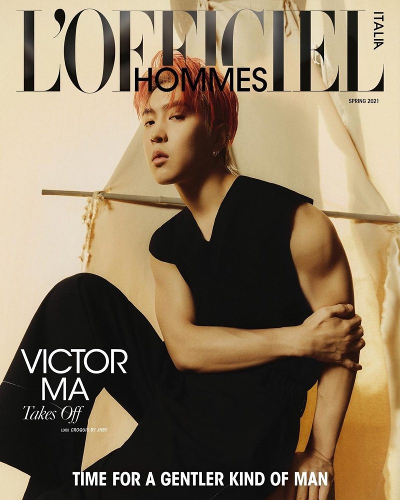 Victor Ma covers the spring 2021 edition of L'Officiel Hommes Italia.