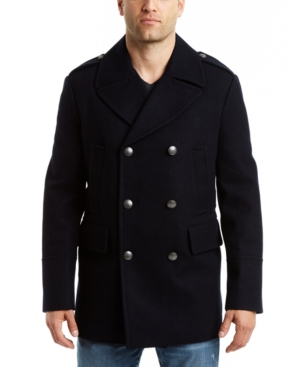 Vince Camuto Men's Double Breasted Nautical Peacoat Jacket