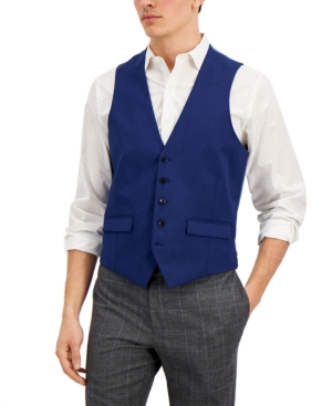 Vince Camuto Men's Slim-Fit Blue Check Vest, Created for Macy's