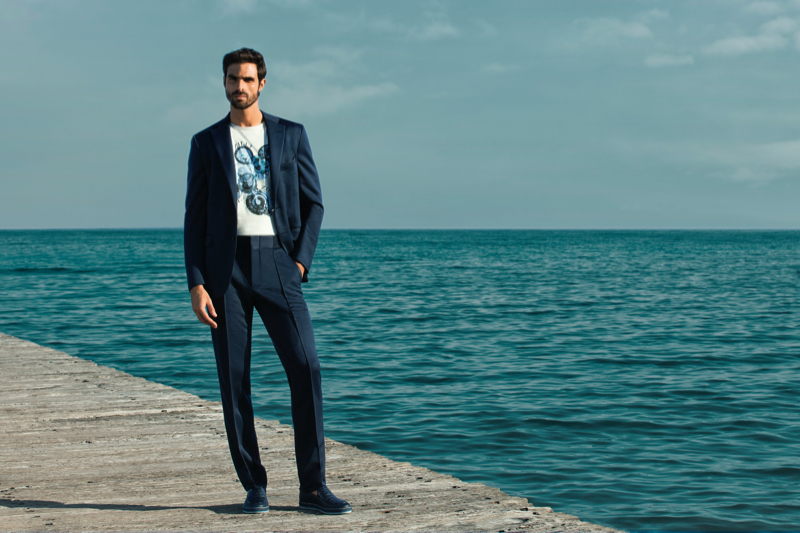 Alfonso Anton Cornelis photographs Juan Betancourt in a sharp suit for ZILLI's spring-summer 2021 campaign.