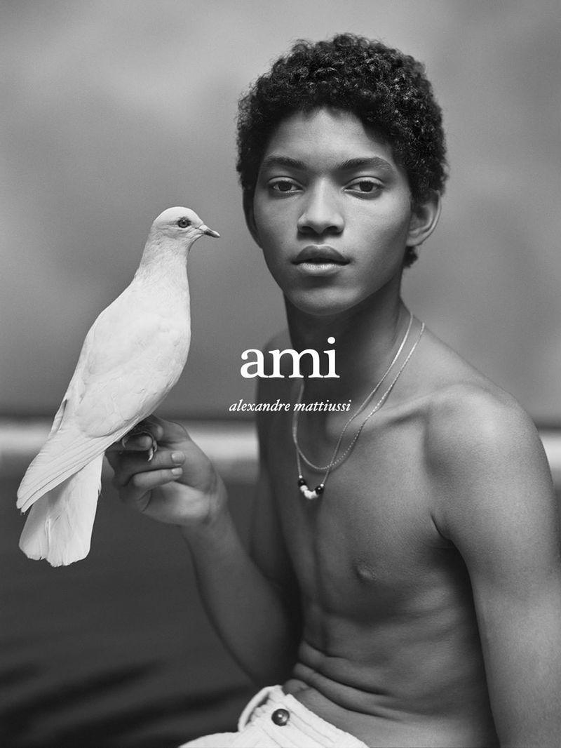 Jeranimo van Russel appears in AMI Paris' spring-summer 2021 campaign.
