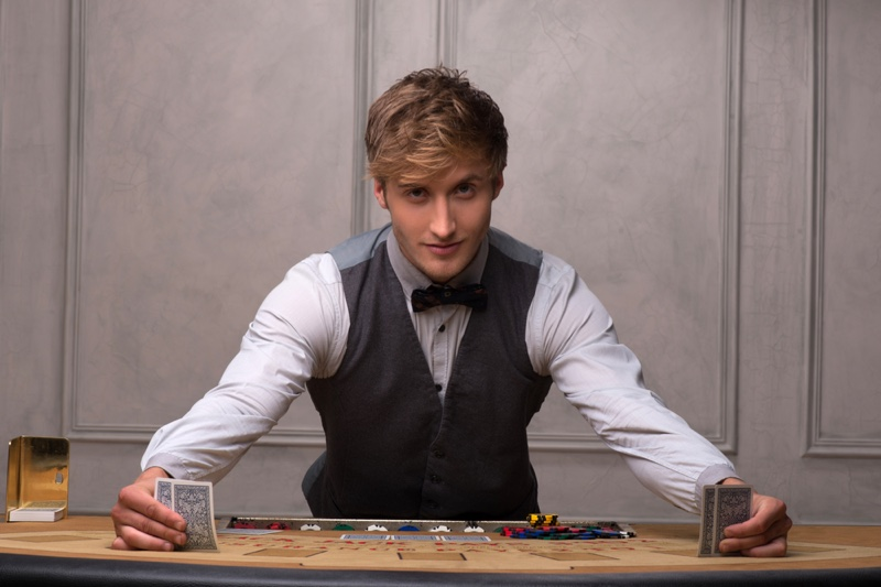 Attractive Male Casino Dealer Cards