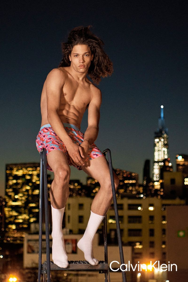 Posing against a cityscape, Jaleen Oliver appears in Calvin Klein's spring-summer 2021 underwear campaign.