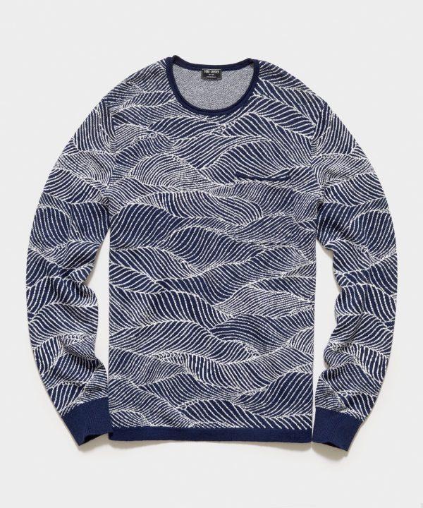 Cotton Linen Wave Pattern Beach Sweater in Navy