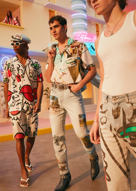 Loui Martínez, Jhonattan Burjack, and Biel Juste wear fashions from the new Desigual x Esteban Cortazar capsule collection.