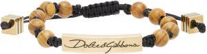 Dolce & Gabbana Black & Gold Beaded Logo Bracelet