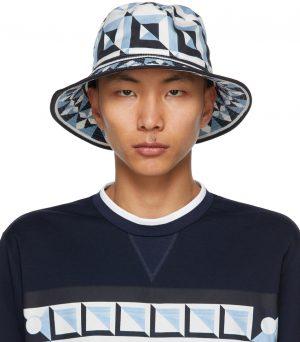 Dolce & Gabbana Blue & White Majolica Print Bucket Hat