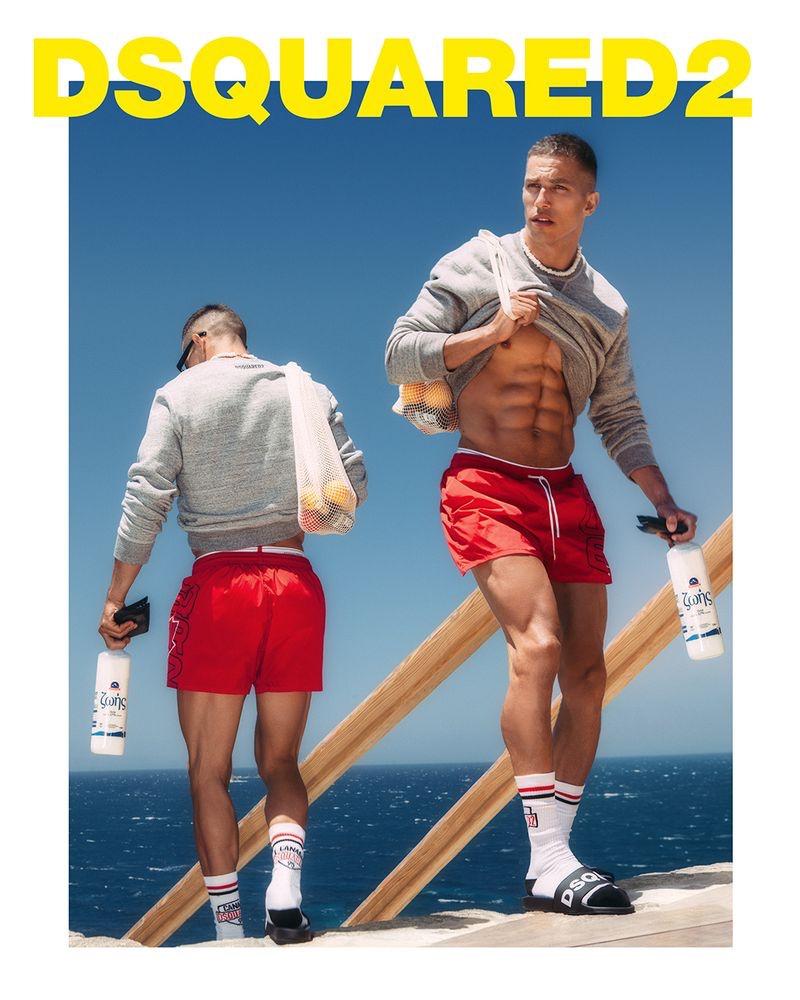 Christos Katsavochristos stars in Dsquared2's 2021 beachwear campaign.