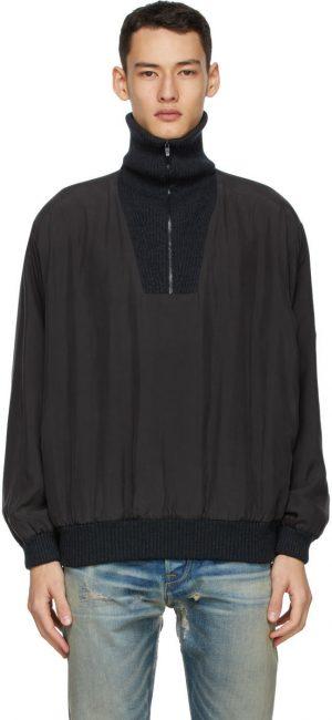 Fear of God Ermenegildo Zegna Black High Zip Anorak Jacket