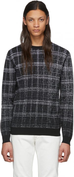 Fendi Black & Grey Wool 'Forever Fendi' Sweater