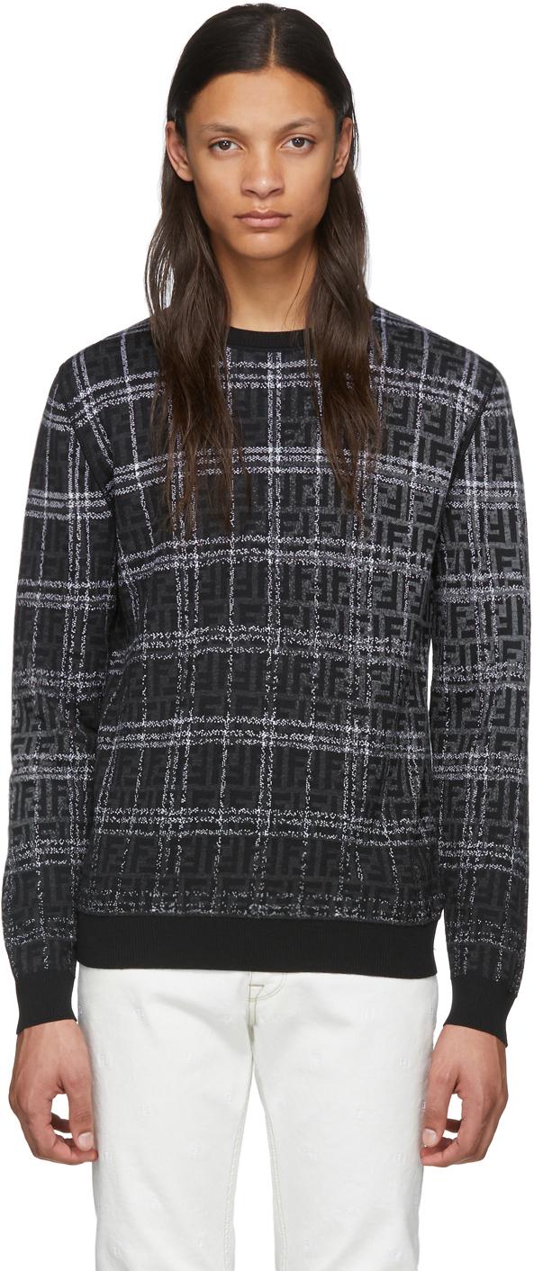 Fendi Black & Grey Wool 'Forever Fendi' Sweater