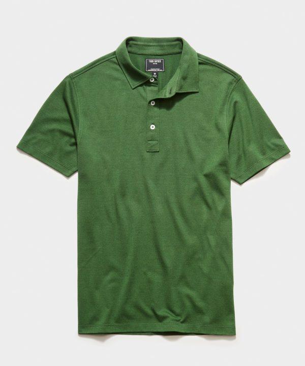Fine Pique Polo in Green