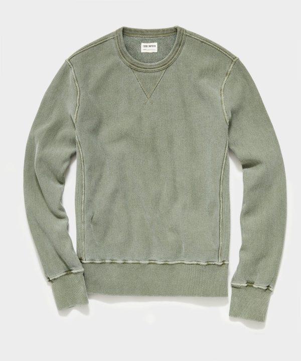 Garment Dyed Crew Sweatshirt in Olive