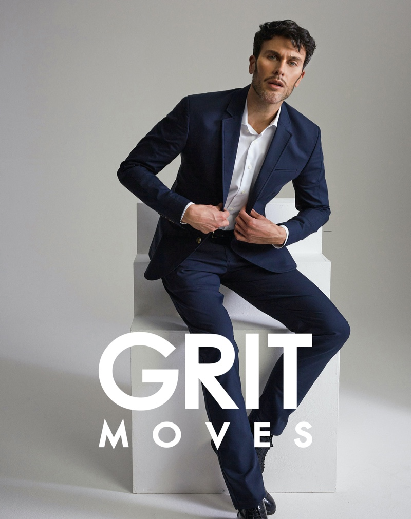 Donning a sharp suit, Pascal Bier fronts GritMoves latest campaign.