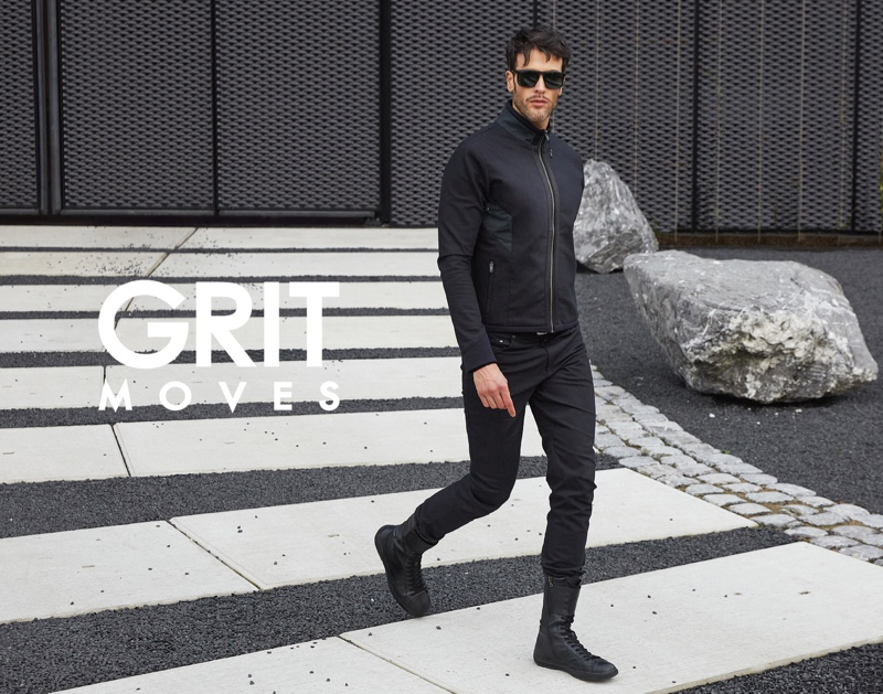 Taking a stroll, Pascal Bier appears in GritMoves' campaign.
