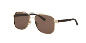 Gucci Man Gg0422s - Frame color: Gold, Lens color: Brown, Size 60-17/140