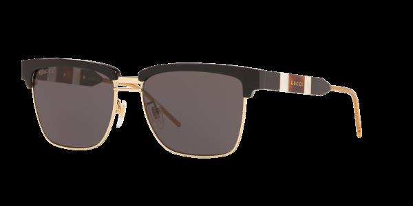 Gucci Man Gg0603s - Frame color: Shiny Black, Lens color: Grey-Black, Size 56-16/145