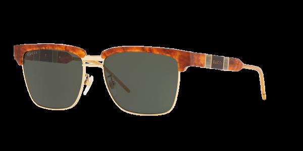 Gucci Man Gg0603s - Frame color: Tortoise, Lens color: Green, Size 56-16/145