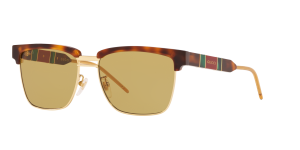 Gucci Man Gg0603s - Frame color: Tortoise, Lens color: Yellow, Size 56-16/145