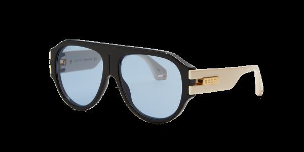 Gucci Man Gg0665s - Frame color: Black, Lens color: Blue, Size 58-15/145