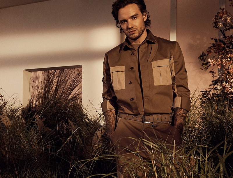 Embracing modern safari style, Liam Payne dons a look from his spring-summer 2021 HUGO collection.