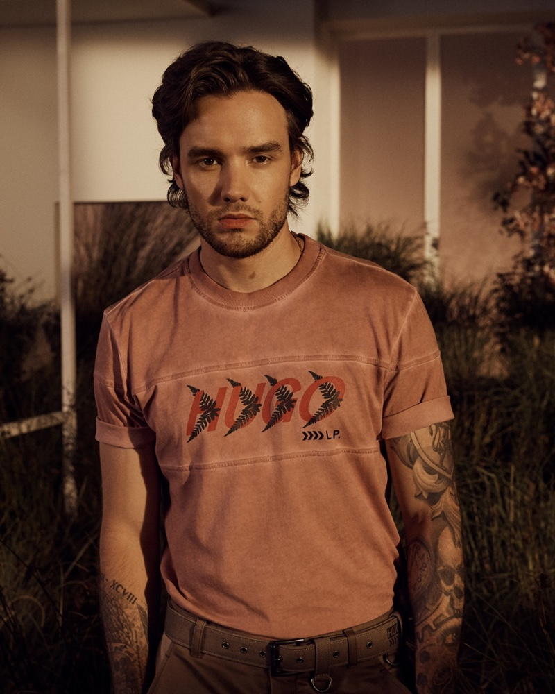 Pictured in a forest-inspired HUGO t-shirt, Liam Payne fronts the spring-summer 2021 campaign for his capsule collection.