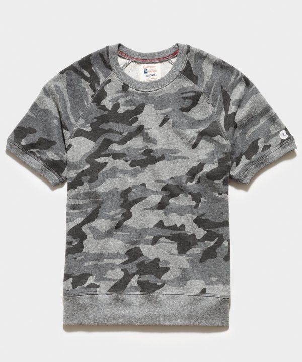 Heather Grey Camo Short Sleeve Sweatshirt