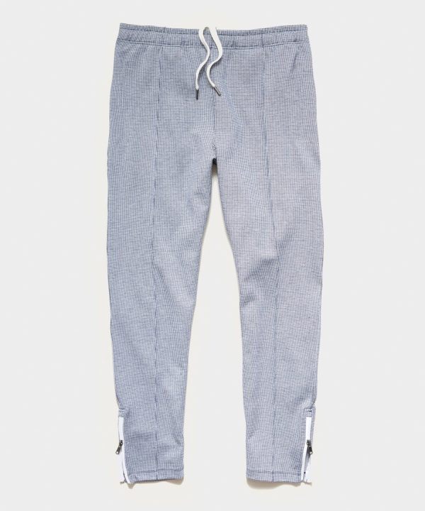 Houndsooth Pintuck Track Pant in Navy