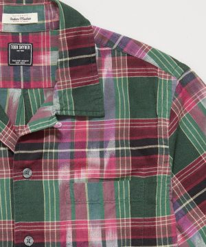 Ikat Madras Camp Collar Short Sleeve Shirt in Multi