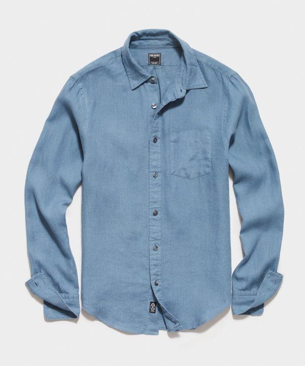 Irish Linen Spread Collar Long Sleeve Shirt in Blue