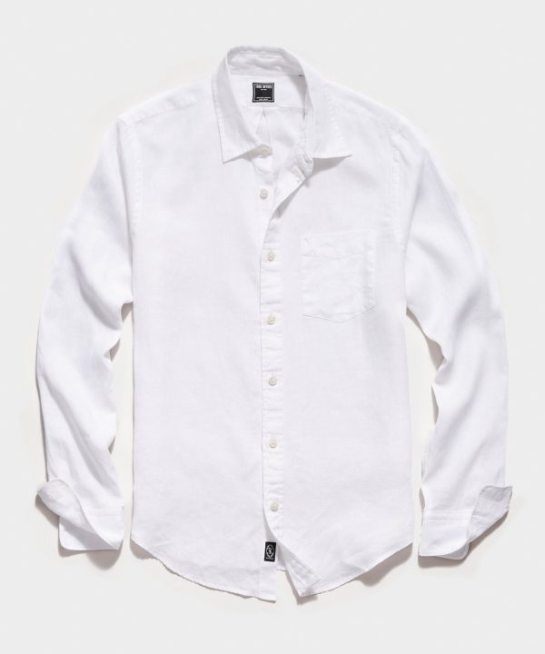 Irish Linen Spread Collar Long Sleeve Shirt in White