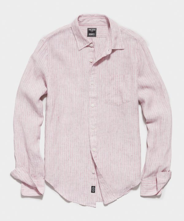 Irish Linen Spread Collar Long Sleeve Shirt in Wine Stain Barre Stripe