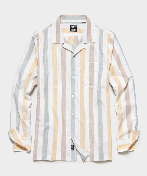 Italian Camp Collar Long Sleeve Shirt in Candy Stripe