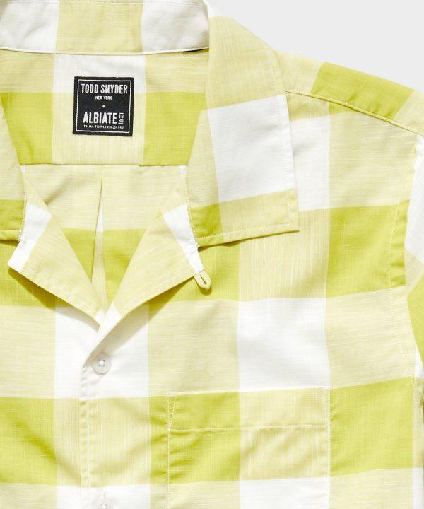 Italian Camp Collar Short Sleeve Shirt in Vintage Yellow Plaid