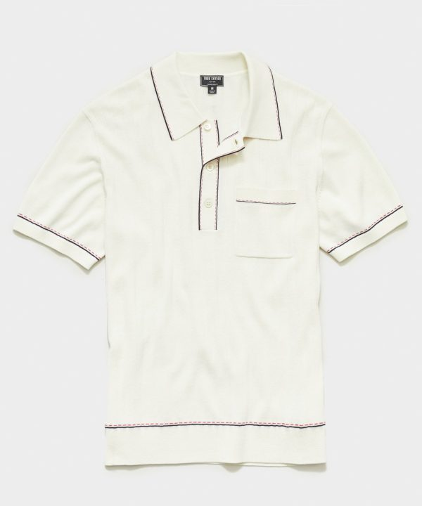 Italian Cotton Silk Tipped Ribbed Polo Sweater in Ivory
