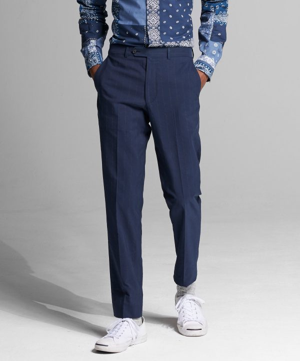 Italian Cotton Wool Dress Pant in Navy Corded Stripe