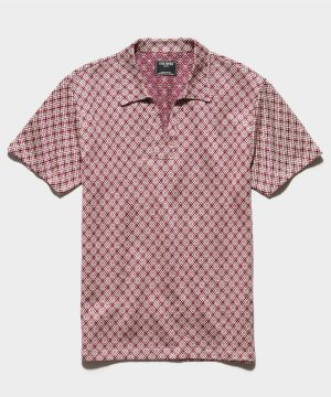 Italian Double Knit Cotton/Linen Polo in Burgundy