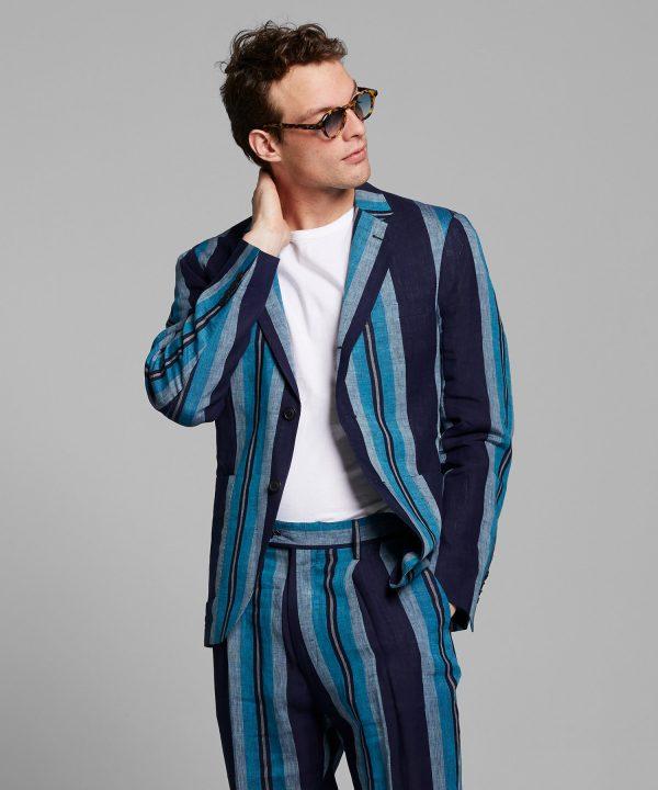 Italian Linen Madison Suit Jacket in Indigo Blanket Stripe