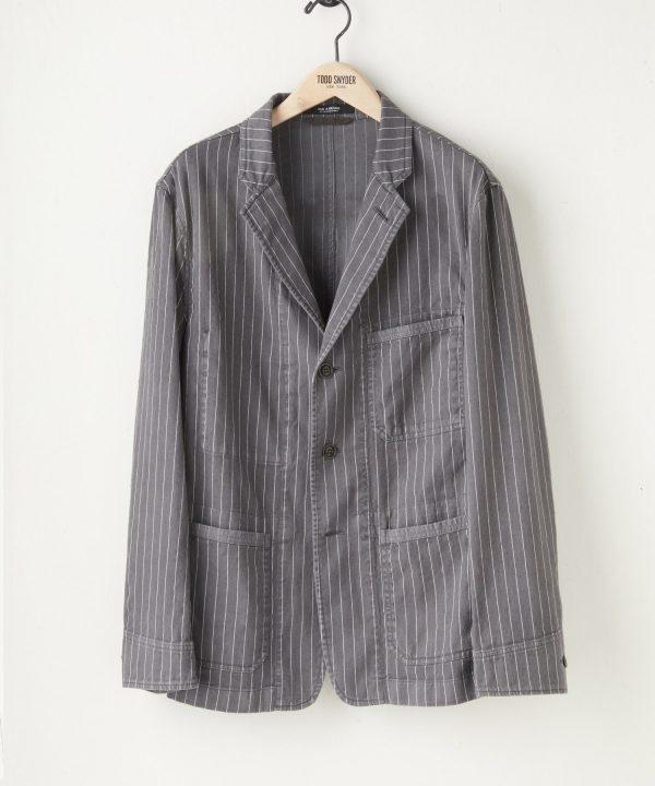 Italian Over-dyed Stripe Studio Coat in Charcoal