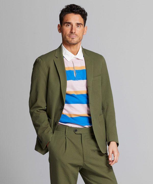 Italian Seersucker Madison Suit Jacket in Olive
