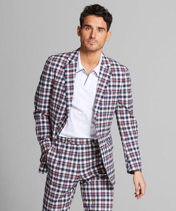 Italian Seersucker Suit Jacket in Red Blue Plaid