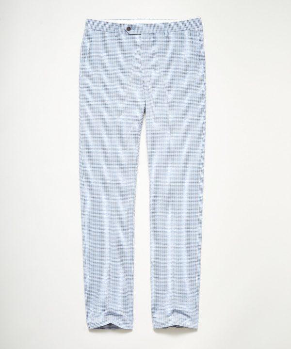 Italian Seersucker Sutton Dress Trouser in Blue Gingham