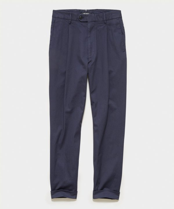 Italian Stretch Cotton Madison Pleated Pant in Navy