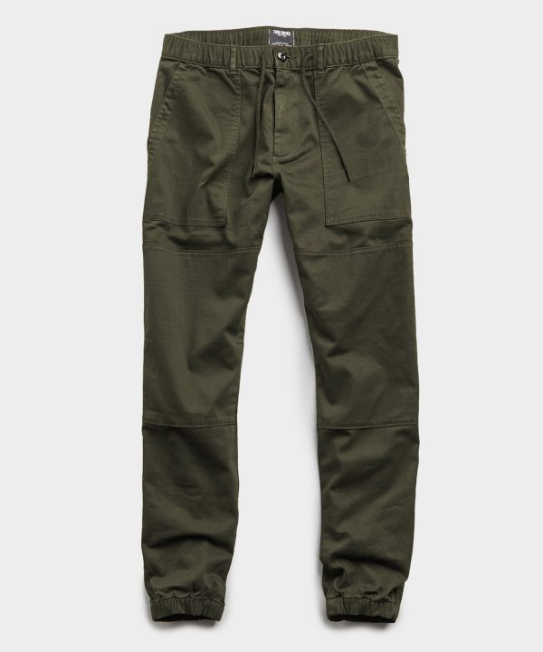 Italian Stretch Drawstring Camp Jogger in Olive