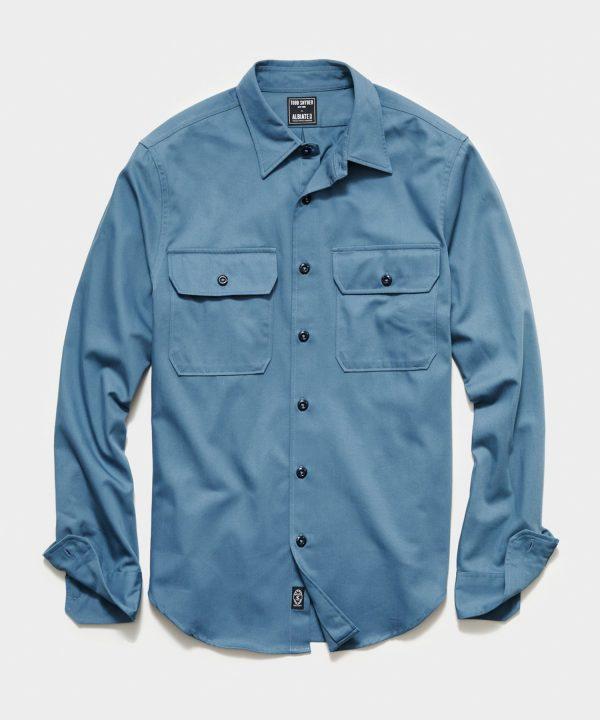 Italian Two Pocket Utility Long Sleeve Shirt in Club Blue