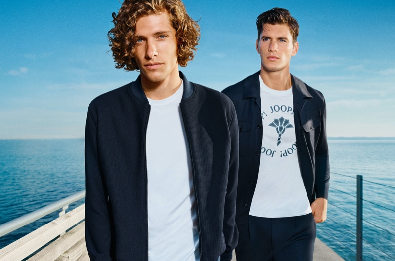 Umberto Villahermosa and Dan Zsolt sport navy and white looks for JOOP!'s spring-summer 2021 campaign.