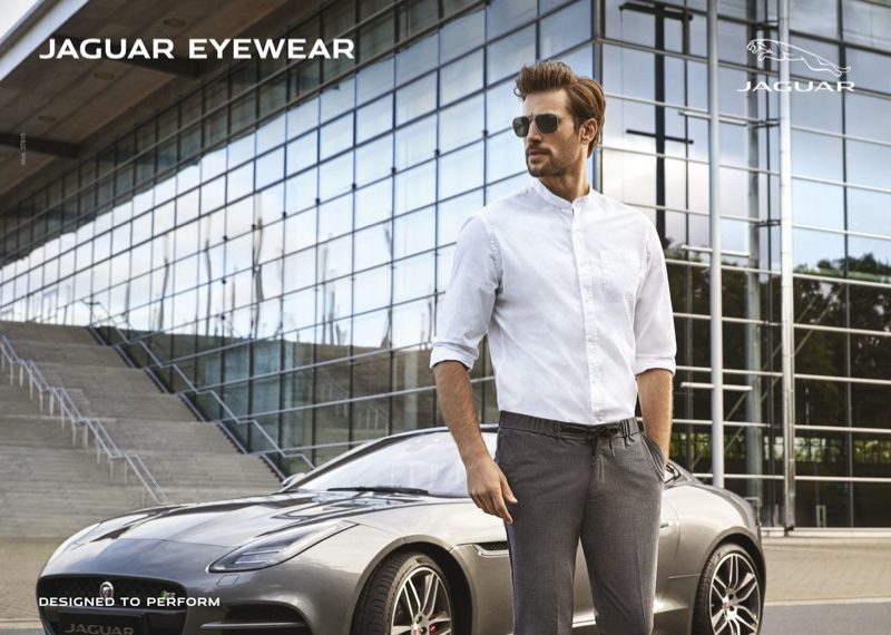 A sleek vision, Baptiste Mayeux appears in Jaguar Eyewear's summer 2021 campaign.