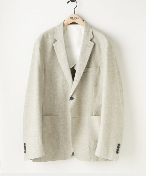 Japanese Chambray Traveler Suit Jacket in Olive
