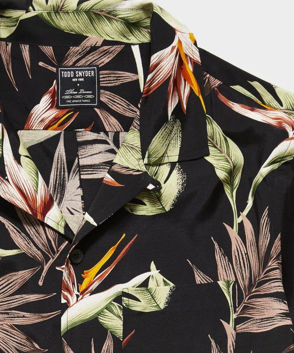 Japanese Rayon Camp Collar Short Sleeve Shirt in Black Floral Print